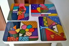 Individuales resinados Técnica Britto 30 x 40 cms. Country Paintings, Pot Holders, Stencils, Ideas, Home, Art On Wood, Painted Wood, Decorations, Mosaics