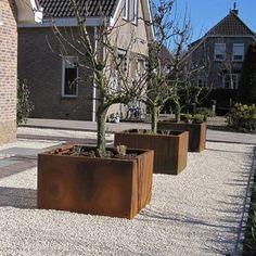 Andes cortenstaal 120x120x60 cm plantenbak Backyard Beach, Modern Backyard, Garden Pool, Balcony Garden, Backyard Projects, Garden Projects, Outdoor Landscaping, Outdoor Gardens, Planter Boxes