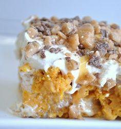 Pumpkin Poke Cake is a fun alternative to pumpkin pie this Thanksgiving. Make this sweet pumpkin recipe all autumn long.