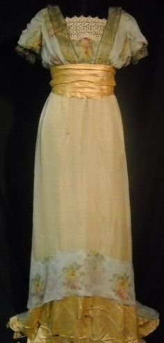 1910-1912 metallic buttery gold gown.
