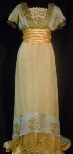 1910-1912 metallic buttery gold gown.