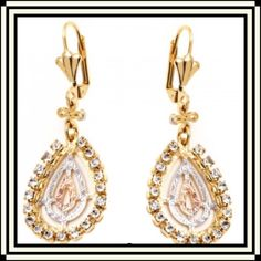 """💥$⬇️18K Gold Plated & Simulated Diamond Earrings These beautiful earrings are 18K plated brass triple tone teardrops with simulated diamonds. They feature a triple teardrop cutout design in gold, rose gold and silver tones adorned with sparkling cubic zirconia. Brand new with tag/box. 1 3/4"""" drop. Jewelry Earrings"""