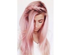 New twist on the bang braid. This light pink hair color is so pretty - totally doable with hair chalk.