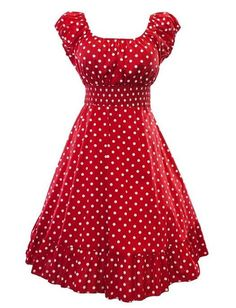 This 1950s inspired swing dress features a classic polka dot print and a full ruffle hemmed circle skirt. Elastic scoop neckline. Raglan capped sleeves have elastic stretch. Empire styled smock waist