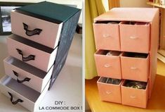 Ideas for recycling your shoe boxes and cartons Fabric Covered Boxes, Recycling, Carton Box, Diy Arts And Crafts, Diy Projects To Try, Shoe Box, Organization Hacks, Design Crafts, Filing Cabinet