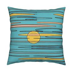 Catalan Throw Pillow featuring morning skies/aqua by menny | Roostery Home Decor