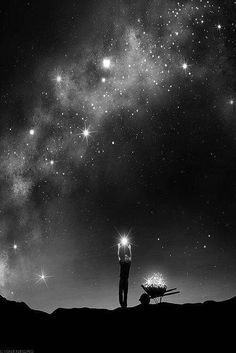 """And the boy harvested stars from the sky for the brightest form of magic. """"The sky has so many stars"""", he reasoned, """"these will never be missed. Art Photography, Street Photography, Art Graphique, Pics Art, Stars And Moon, Night Skies, Black And White Photography, Urban Art, The Dreamers"""