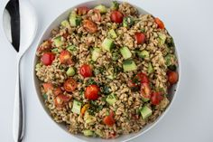 Recipe: Summer Farro Salad with Tomato , Cucumber & Basil