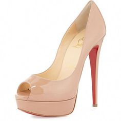 07303a08ac8e Christian Louboutin Lady Peep Patent Red Sole Pump ( 990) ❤ liked on  Polyvore