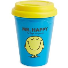 Wild & Wolf 'Mr. Happy' Travel Mug (€6,44) ❤ liked on Polyvore featuring home, kitchen & dining, drinkware, blue and wild & wolf
