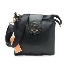 Michael Kors Fulton Logo Large Black Crossbody Bags Outlet