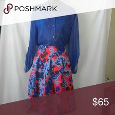 Anthropology HD in paris skirt NWOT Red,blue,black floral print skirt with pockets Skirts A-Line or Full