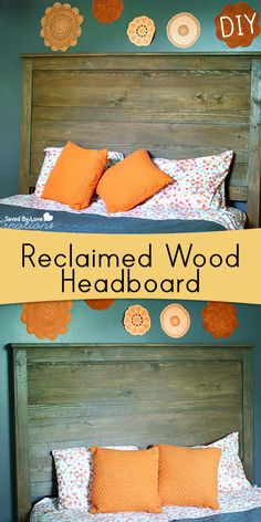 How to Make a Reclaimed Wood DIY Headboard with AMAZING new stain and seal product @savedbyloves