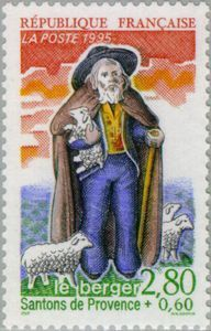 France 1995 Stamp - Santon of Provence: The Shepherd. Repinned by www.mygrowingtraditions.com