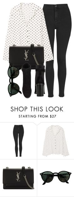 """""""Untitled #7101"""" by laurenmboot ❤ liked on Polyvore featuring Topshop, MANGO, Yves Saint Laurent, Ray-Ban and rag & bone"""