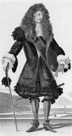 Petticoat breeches: French Engraving. c.1675. Early type of coat worn over petticoat breeches. Accessories-baldrick and cravat.