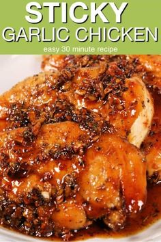 This easy Garlic Honey Glazed Chicken is ready in 30 minutes and has only a few ingredients. It's one of my all time favorite quick easy chicken recipes. Ground Chicken Recipes, Easy Chicken Dinner Recipes, Fun Easy Recipes, Healthy Dinner Recipes, Cooking Recipes, Honey Baked Chicken, Glazed Chicken, Glaze For Chicken, Breaded Chicken
