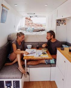 Make table to swing out so one can sit on back side of table when needed Van Life Movement // Tiny Living // Tiny House on Wheels // Van Conversion // Van Living // Tiny Home // Architecture // Home Decor To Bem To Zen, Kombi Motorhome, Kombi Home, Van Home, Camper Van Conversion Diy, Sprinter Van Conversion, Van Interior, Van Living, Living Room