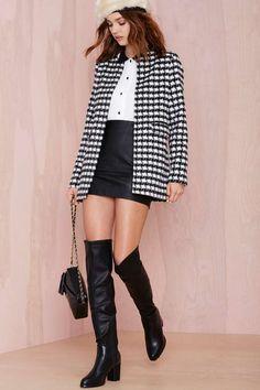 Glamorous Uptown Bound Houndstooth Coat - Coats | | Jackets + Coats
