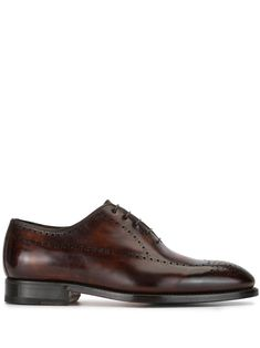 Black calf leather burnished derby shoes from Bontoni featuring a burnished leather effect, decorative perforations, a lace-up front fastening, a lace-up front fastening, a leather lining and a low block heel. Mens Derby Shoes, Calf Leather, Block Heels, Black Shoes, Calves, Oxford Shoes, Dress Shoes, Women Wear, Lace Up