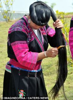 The Red Yao women, a minority ethnic group from Huangluo Yao Village in China, have an average hair length of 5.5 feet. The longest locks measure more than 6.8 feet. Incredibly, the women cut their hair only once in their lives, at 16-years-old, before they start their search for a husband.