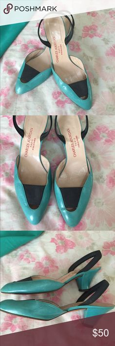 Vintage Charles Jourdan Paris heels True vintage, Charles Jourdan, made in France Turquoise and navy leather heels. Sz 10 Charles Jourdan Shoes Heels