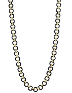 @Megan Ward Lagos Jewelry  Black Agate Gold Necklace