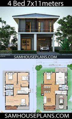 Modern House Floor Plans, 3d House Plans, Model House Plan, House Layout Plans, Contemporary House Plans, House Blueprints, Dream House Plans, Small House Plans, House Layouts