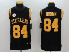 9c48b3ce6 Men Pittsburgh Steelers 84 Brown Black Rush Player Name Number Tank Top  stitched NFL Jerseys