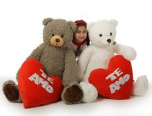 Te Amo Valentine's Day Teddy Bears are 3 1/2 feet tall, HUGE woolly-soft cuteness from Giant Teddy