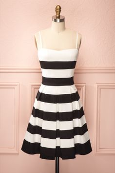 Leslie - Black and white striped dress