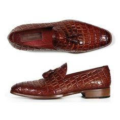 Paul Parkman Men's Brown Crocodile Embossed Tassel Loafer (ID#0823) (clipped to polyvore.com)