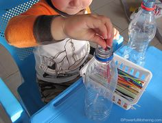 Quiet activities for two year olds - straws and bottles