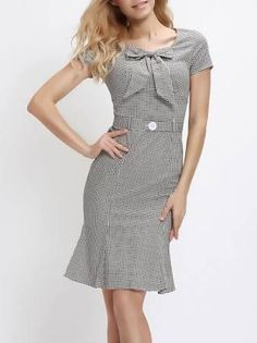 Mermaid Bowknot Houndstooth Bodycon-dress - Brought to you by Avarsha.com