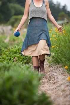 Rebecca Burgess wearing a handknit piece, designed by Heidi Iverson
