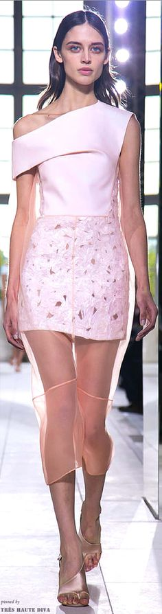 #Paris FW Balenciaga Spring / Summer 2014 RTW I don't usually like shear . Why would you pay so much to see your underwear. But this one is different. It's architectural and the sheer gives it a soft aura.