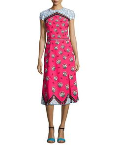 Cap-Sleeve+Mixed-Print+Midi+Dress,+Pink+Pattern+by+Mary+Katrantzou+at+Bergdorf+Goodman.