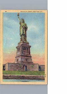 Postcard New York City Statue of Liberty 1948 Vintage Linen