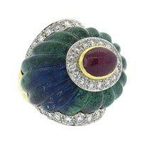 Impressive David Webb Azurite Ruby Diamond Platinum 18k Gold Ring This ring is too amazing!