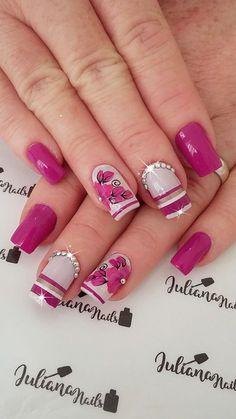 As unhas decoradas estão super na moda, mas infelizmente não são todas as mulheres que tem tempo de ir ao salão ou habilidade em manicure para aderir a elas, ficando a opção de recorrer aos adesivos de unhas. As unhas com adesivos já caíram no gosto feminino, pois, os adesivos de unhas são práticos e… Edgy Nail Art, Edgy Nails, Elegant Nail Art, Floral Nail Art, Hot Nails, Toe Nail Art, Pink Nails, Flower Nail Designs, Diy Nail Designs