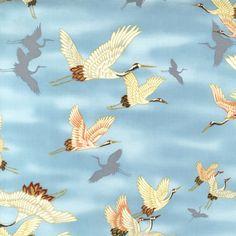 CRANES IN FLIGHT: Sky Blue (1/2 Yd.)