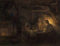 "Rembrandt van Rijn, ""Philemon and Baucis,"" 1658, oil on panel transferred to panel"