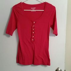 Pink Button Down Top Old Navy Hot Pink Button Down Top with Ruffles Old Navy Tops Button Down Shirts