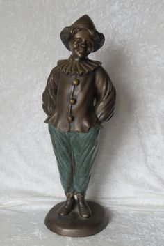 "Bronze Clown Statue Sculpture 19"" Signed Rare Childlike Circus Happy Face Figure by EMStreasureseekers on Etsy"