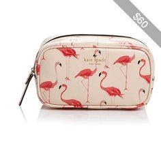 kate spade new york Cosmetic Case - Cedar Street Flamingos Ezra - luggage bags, travel bags for women, book bags *ad