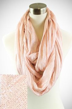 LIGHT PINK & SILVER METALLIC CRINKLE INFINITY SCARF  www.dressmeupfashion.com