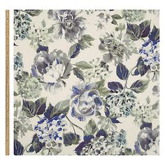 Buy John Lewis Antique Bouquet Furnishing Fabric, Blue Online at johnlewis.com