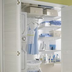 The Container Store > White elfa Laundry Closet-- two or three little shelves on the wall? Room enough?
