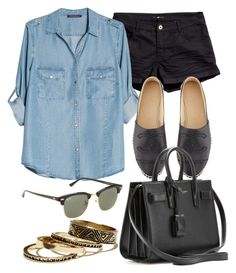 """""""Style #8263"""" by vany-alvarado ❤ liked on Polyvore featuring H&M, Violeta by Mango, Chanel, Yves Saint Laurent, Ray-Ban and Warehouse"""