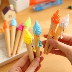 6 pcs/lot creative ice cream pen kawaii gel pen caneta material escolar stationery office school supplies gift-in Gel Pens from Office Stationary Store, Cute Stationary, Stationary School, Cute School Supplies, Office And School Supplies, School Office, Kawaii Stationery, Stationery Items, Cute Pens